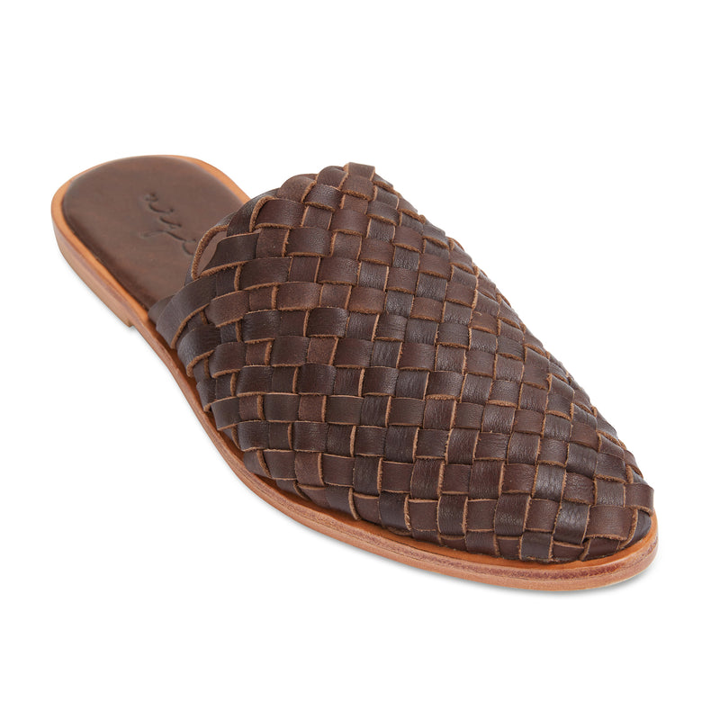 Luella chocolate woven leather mules for women 1