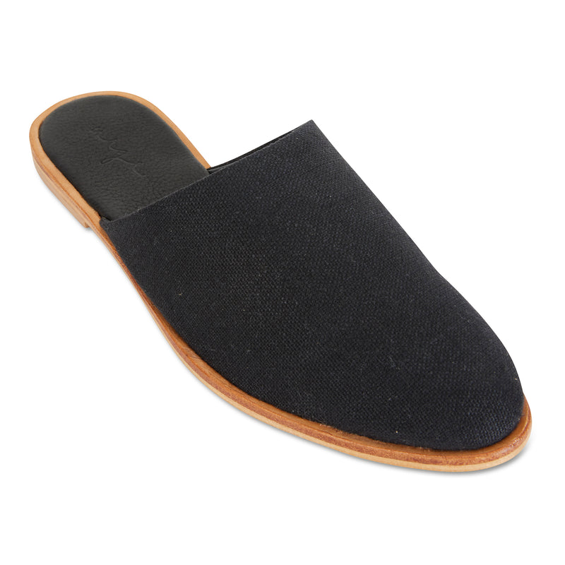 Luxe black linen mules for women 1