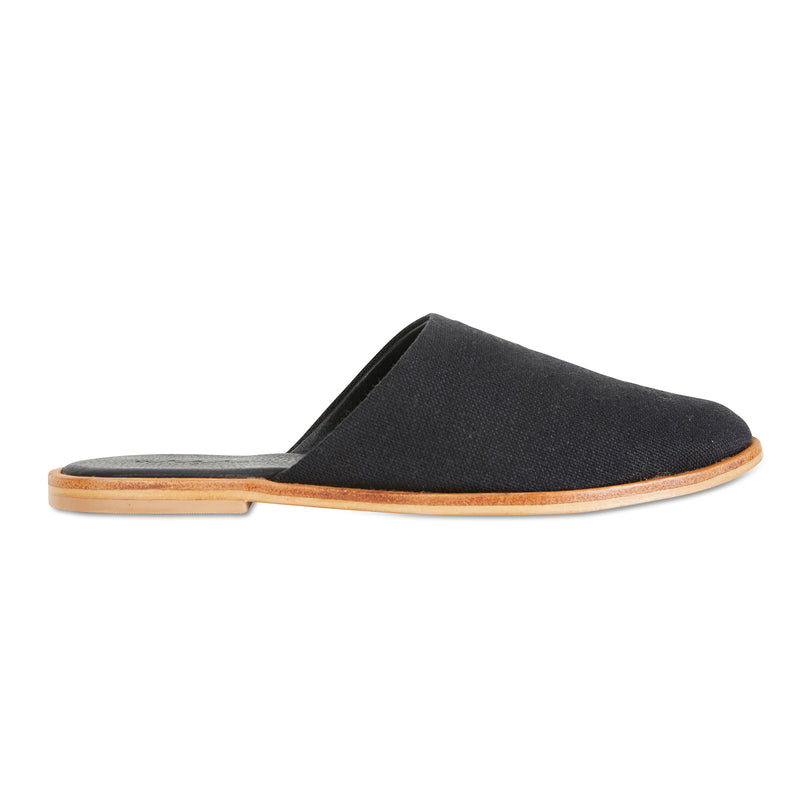 Luxe black linen mules for women
