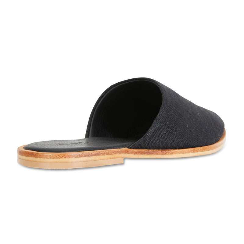 Luxe black linen mules for women 2