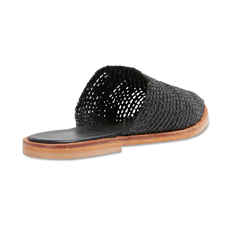 Luxe black raffia mules for women 2