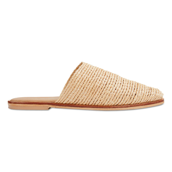 Luxe natural raffia mules for women