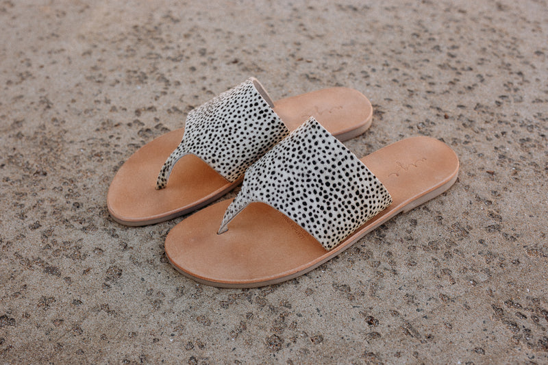 Maddie Cheetah leather thongs for women lifestyle
