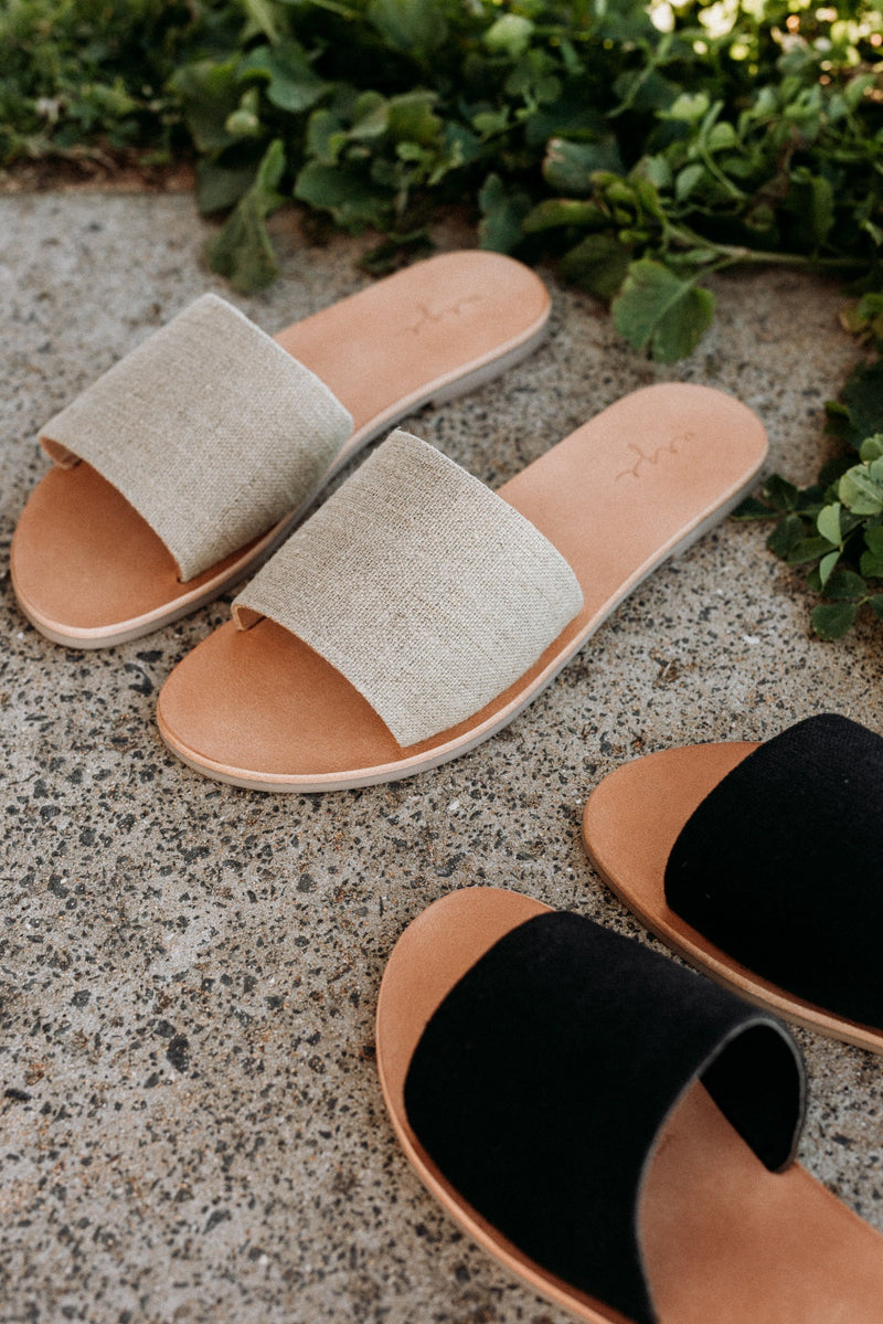 Martina Natural linen slides for women lifestyle