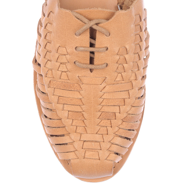 Mini tan vintage leather woven lace up shoes for women 3