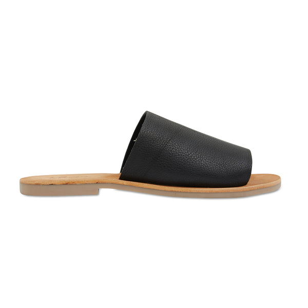Molly black leather classic slides for women