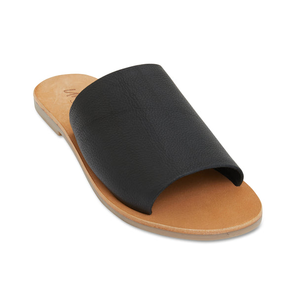 Molly black leather classic slides for women 1