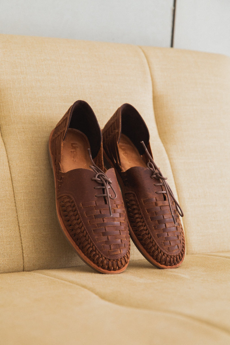 Morocco dark chocolate woven leather lace up men shoes lifestyle