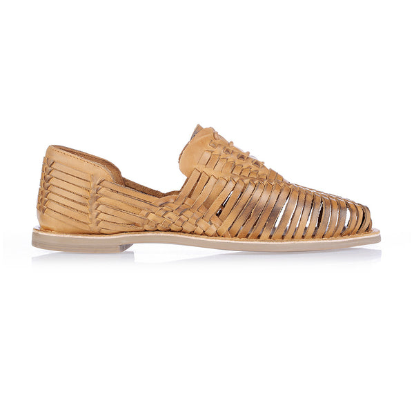 Mykonos II tan leather woven lace up shoes for men