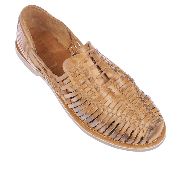 Mykonos II tan leather woven lace up shoes for men  1