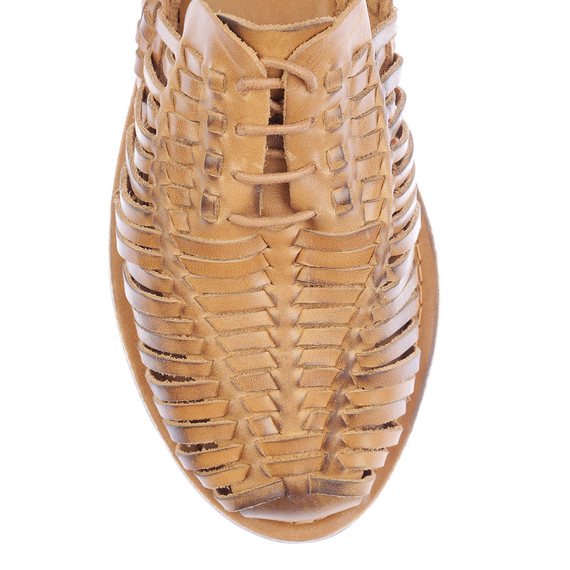 Mykonos II tan leather woven lace up shoes for men  2