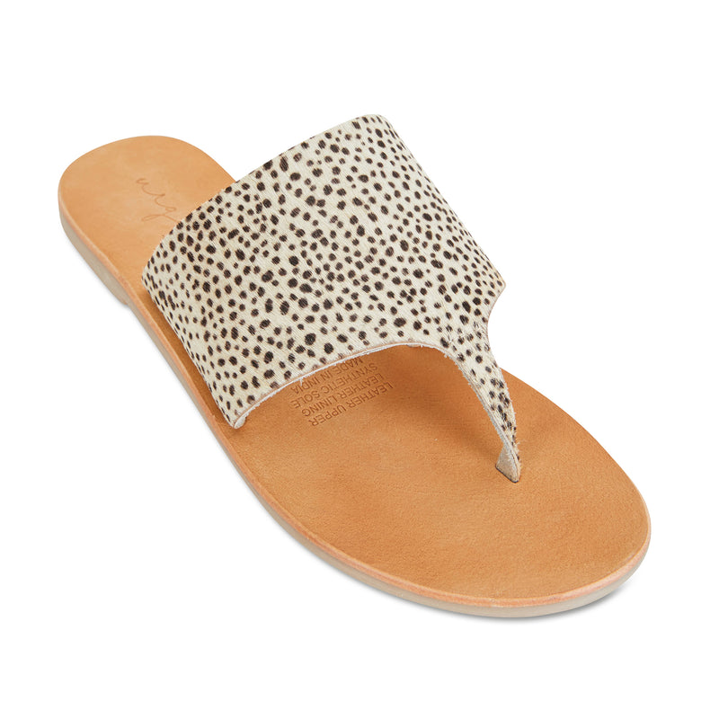 Maddie Cheetah leather thongs for women 1