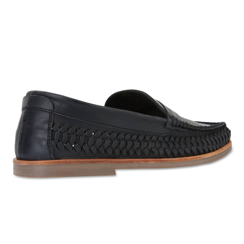 Marakesh Black leather slip on shoes for men 2