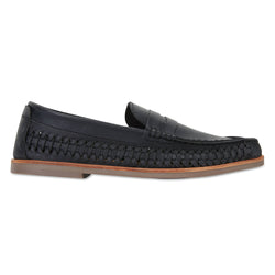 Marakesh Black leather slip on shoes for men