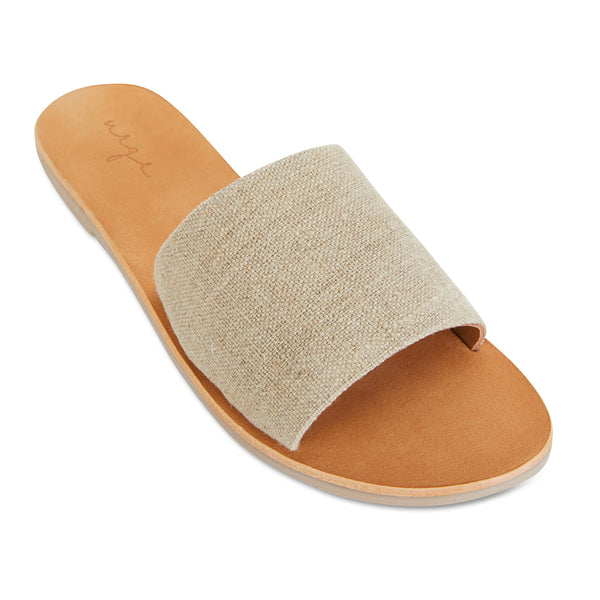 Martina Natural linen slides for women 1