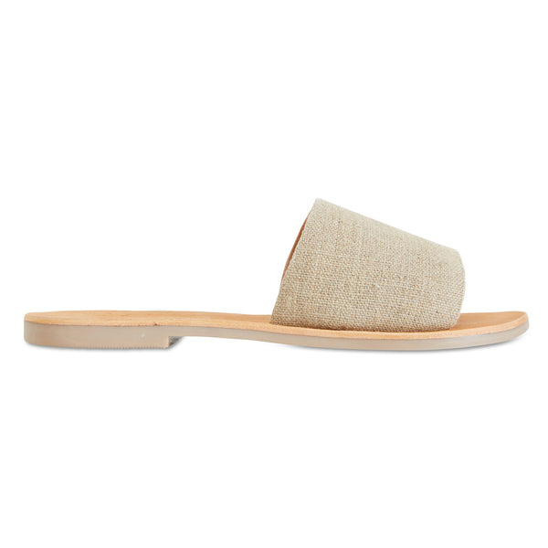 Martina Natural linen slides for women