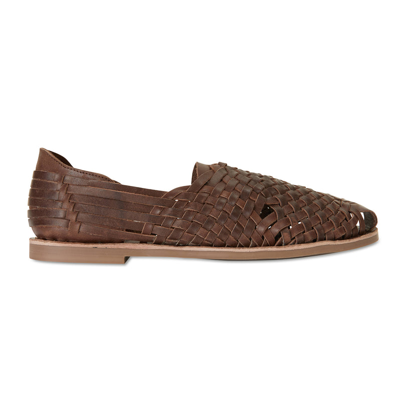 MAson chocolate woven leather slip on shoes for men