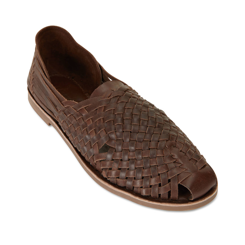 MAson chocolate woven leather slip on shoes for men 1