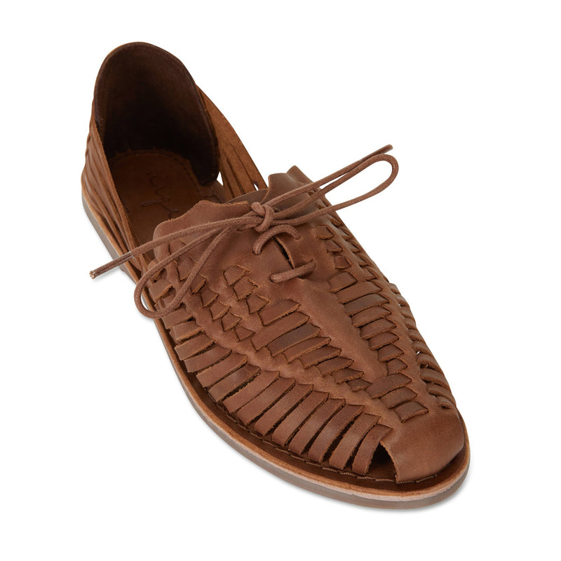 Mini mocha leather woven lace up shoes for women 1