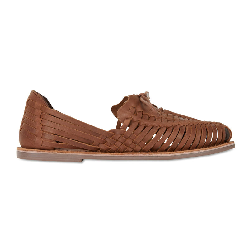 Mini mocha leather woven lace up shoes for women