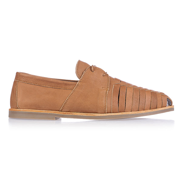 Mister cognac milled leather lace up shoes for men
