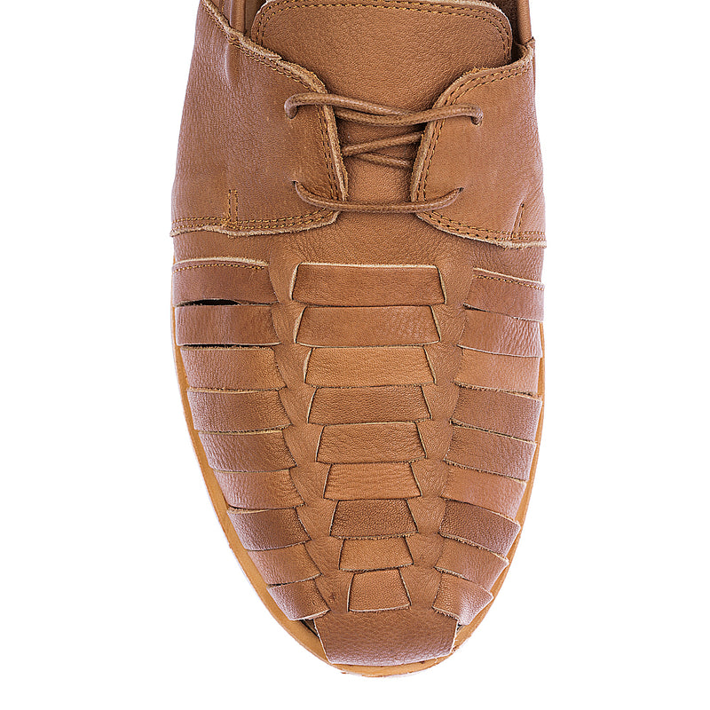 Mister cognac milled leather lace up shoes for men 2