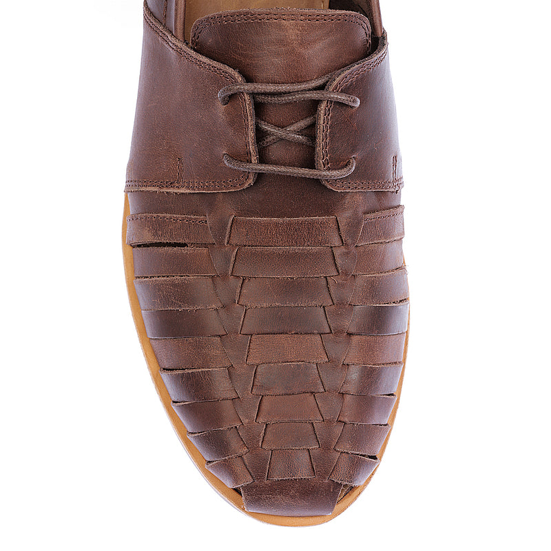 Mister dark chocolate leather lace up shoes for men 2