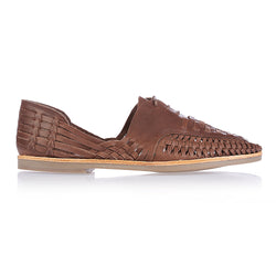 Morocco dark chocolate woven leather lace up men shoes