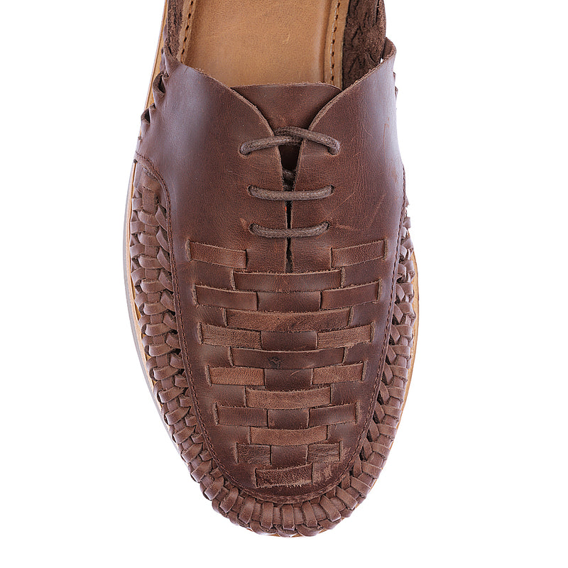 Morocco dark chocolate woven leather lace up men shoes 2