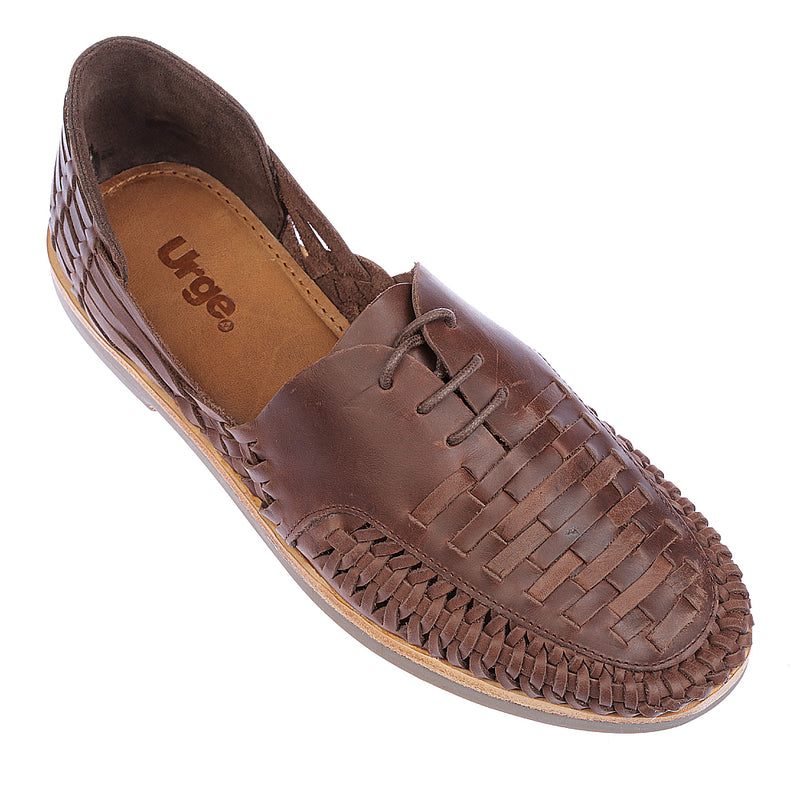 Morocco dark chocolate woven leather lace up men shoes 1