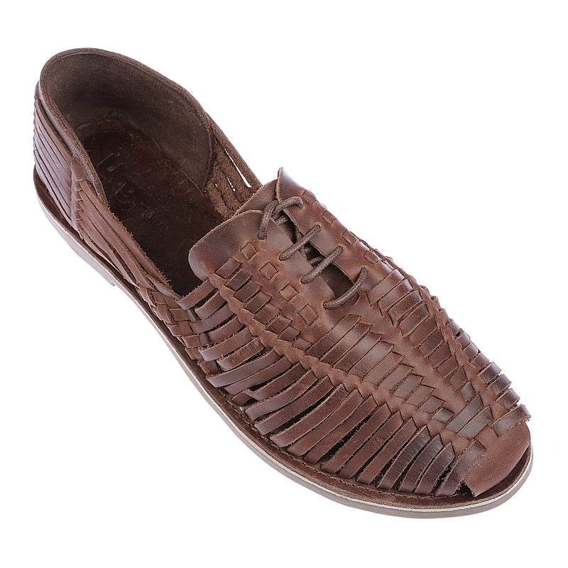Mykonos II dark chocolate leather woven lace up shoes for men 1