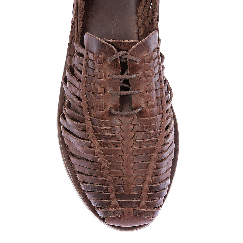 Mykonos II dark chocolate leather woven lace up shoes for men 2