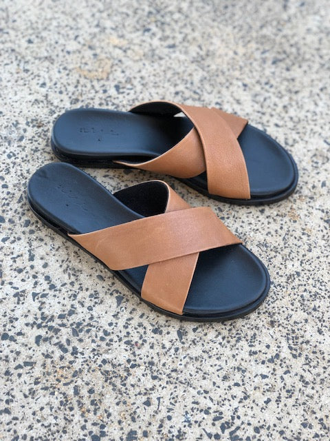 Nikki cognac Leather crossover slides for women lifestyle