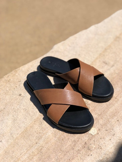 Nikki cognac Leather crossover slides for women lifestyle 1