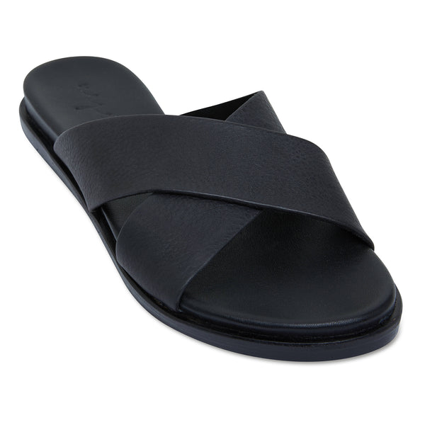 Nikki Black Leather crossover slides for women 1