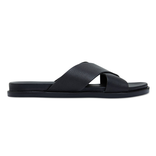 Nikki Black Leather crossover slides for women