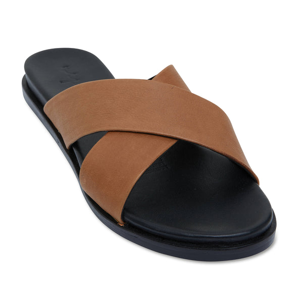 Nikki cognac Leather crossover slides for women 1