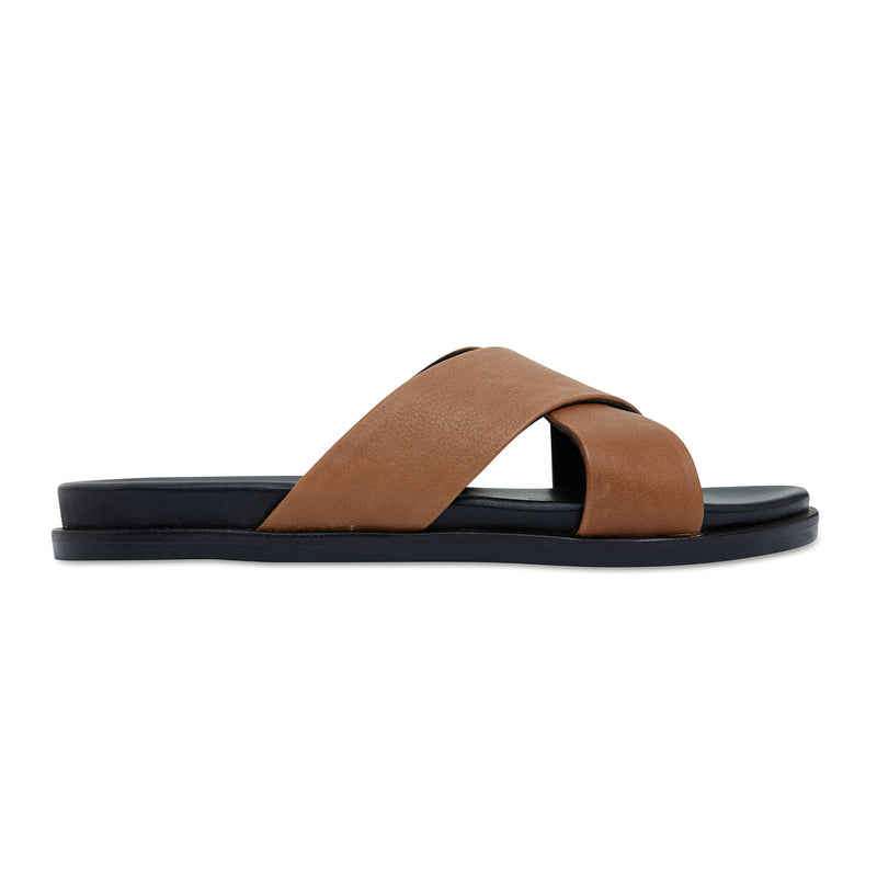 Nikki cognac Leather crossover slides for women