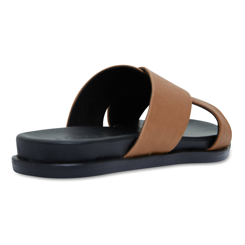 Nikki cognac Leather crossover slides for women 2