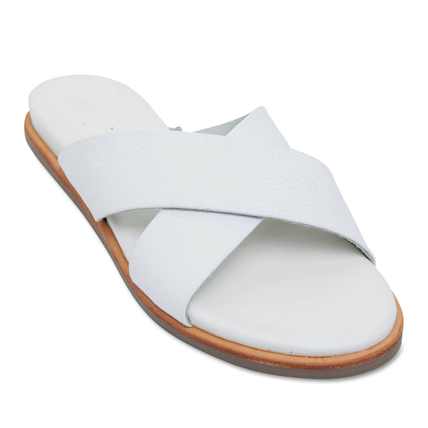 Nikki white Leather crossover slides for women 1
