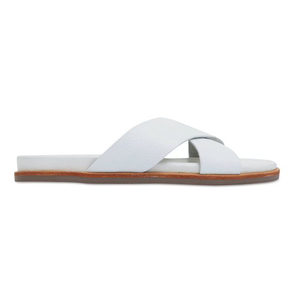 Nikki white Leather crossover slides for women