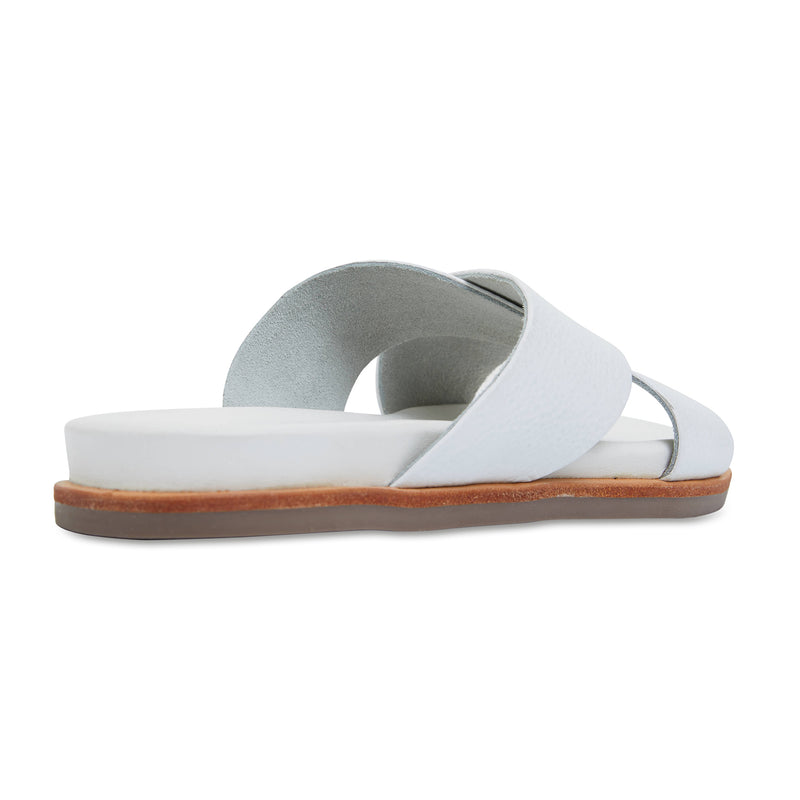 Nikki white Leather crossover slides for women 2