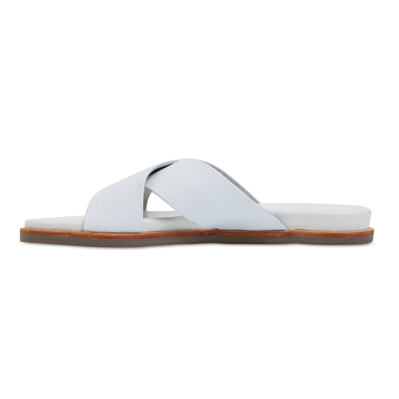 Nikki white Leather crossover slides for women 3