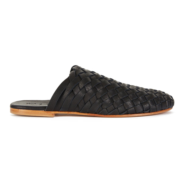 Opi black leather woven mules for women with round toe