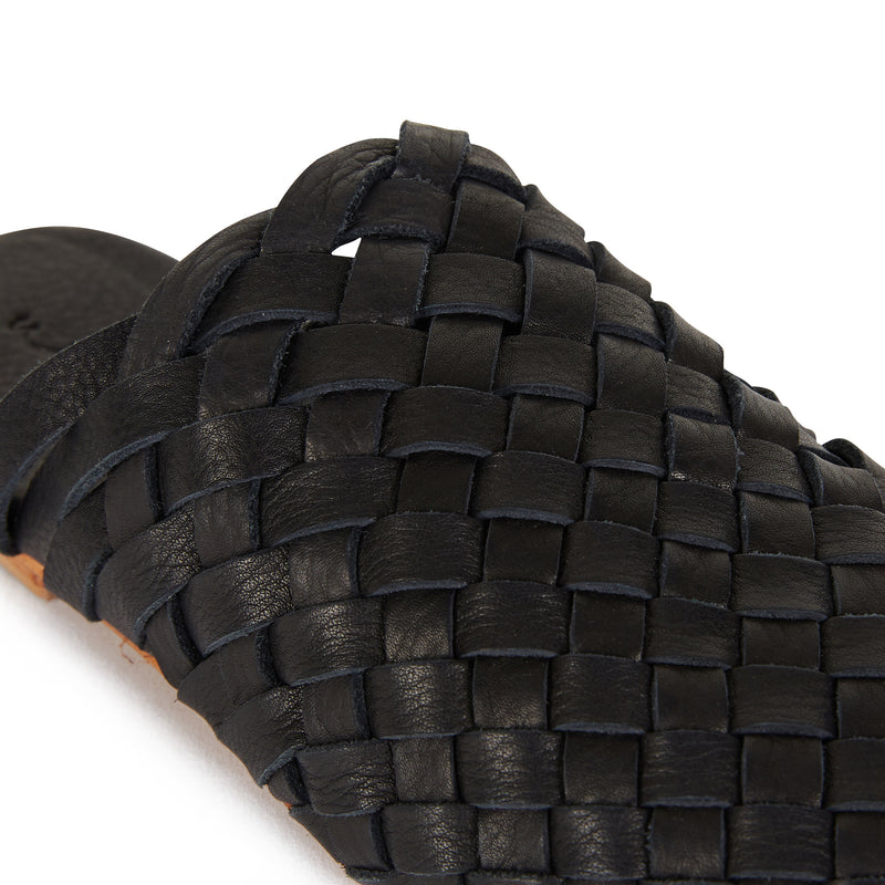 Opi black leather woven mules for women with round toe 3