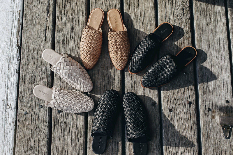 Opi black leather woven mules for women with round toe lifestyle