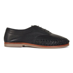 Pedro black milled leather lace up shoes for men with woven detail