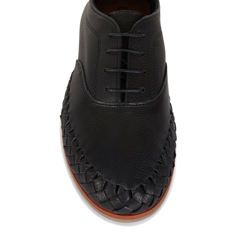 Pedro black milled leather lace up shoes for men with woven detail 1