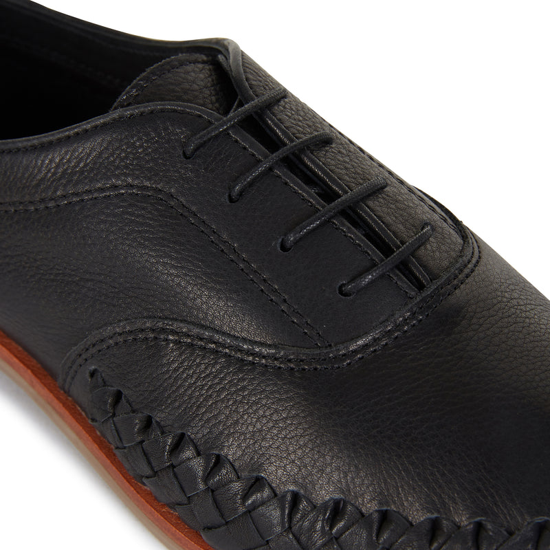 Pedro black milled leather lace up shoes for men with woven detail 2