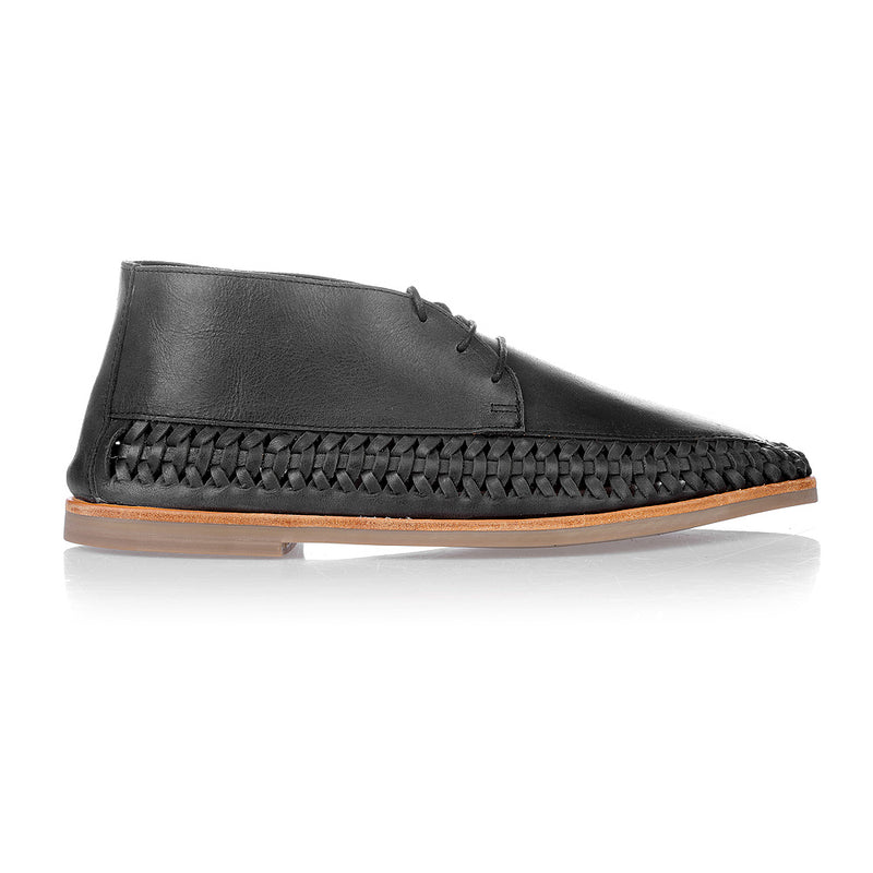 Peniche jet black leather ankle lace up boots for men